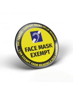 Face Mask Exempt - Lip Reading Badges (Pack of 2)
