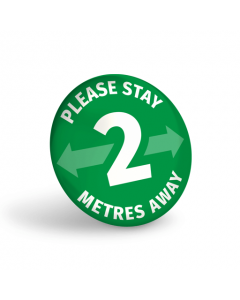 Please Stay 2 Metres Away Badge (Pack of 10) Green