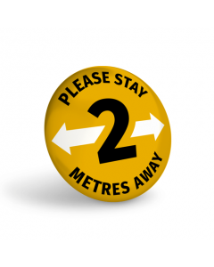 Please Stay 2 Metres Away Badge (Pack of 10) Amber