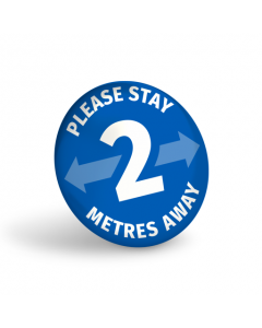 Please Stay 2 Metres Away Badge (Pack of 10) Blue
