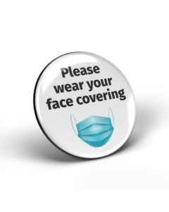 Please wear your face covering badge - White/Black (Pack of 2)