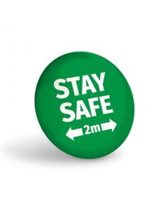 Stay Safe 2 Metres Badge (Pack of 10) Green