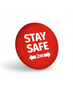 Stay Safe 2 Metres Badge (Pack of 10) Red
