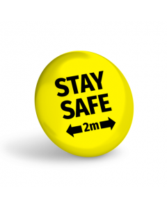 Stay Safe 2 Metres Badge (Pack of 10) Yellow