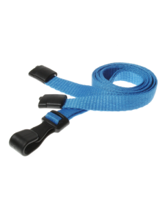 Plain Light Blue Lanyards with Plastic J Clip (Pack of 10)