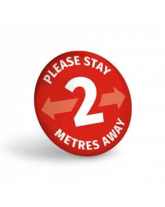 Please Stay 2 Metres Away (Pack of 10) Red