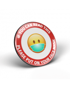 If you can read this, please put on your face mask emoji badge (Pack of 2)