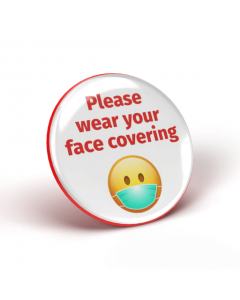 Please wear your face covering emoji badge - White/Red (Pack of 2)