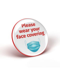 Please wear your face covering badge - White/Red (Pack of 2)