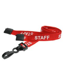 Red Staff Lanyards with Plastic J Clip (Pack of 100)