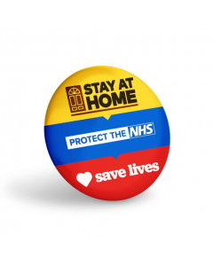 Stay at Home, Save Lives Button Badges (Pack of 10)