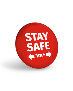 Stay Safe 1+ Metre Badge (Pack of 10) Red