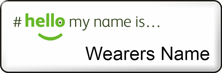 Hello my name is name badge - Small - White