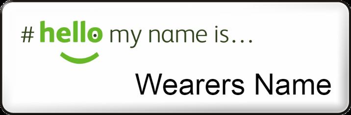 Hello my name is name badge - Small - White