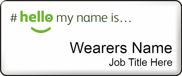 Hello my name is name badge - Medium - White