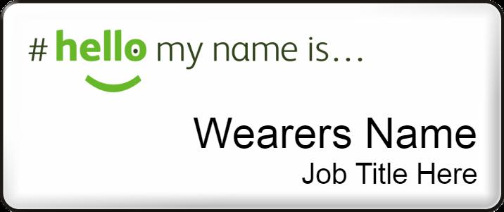 Hello my name is name badge - Medium - White