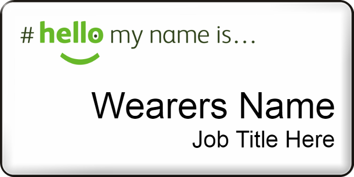 Hello my name is name badge - Large - White
