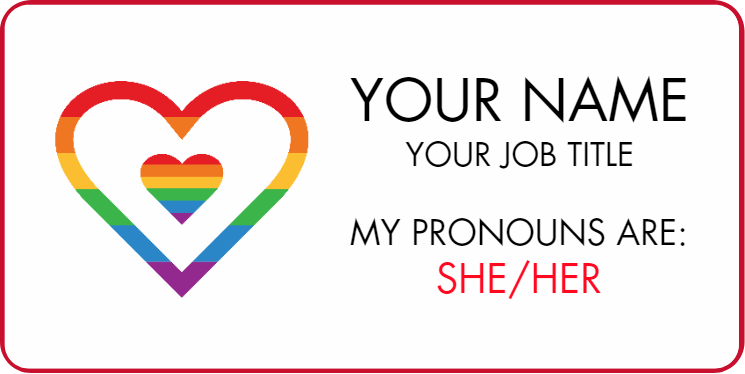Rainbow Heart Pronoun Name Badge 1