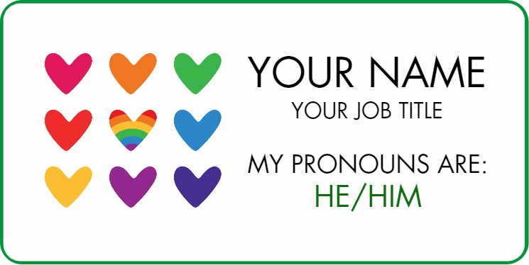 Rainbow Heart Pronoun Name Badge 2