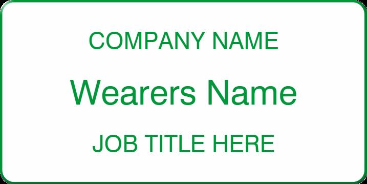 Company name, wearers name & job title