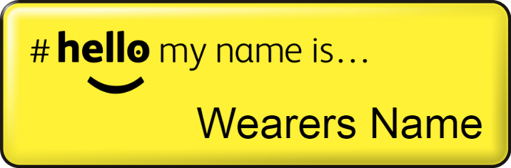 Hello my name is name badge - Small - Yellow
